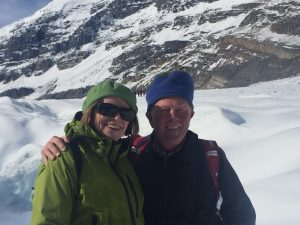 Mary and Roger at Athabasca Glacier,  Columbia Icefields, Alberta, Canada